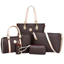 Coofit Damen Leder Handtaschen Umhängetasche Schultertasche Schulter Hobo Set -