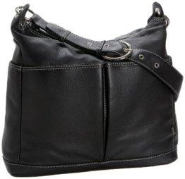 OiOi Wickeltasche aus Leder, in Taschenformat mit Zebra-Futter und Zubehör -