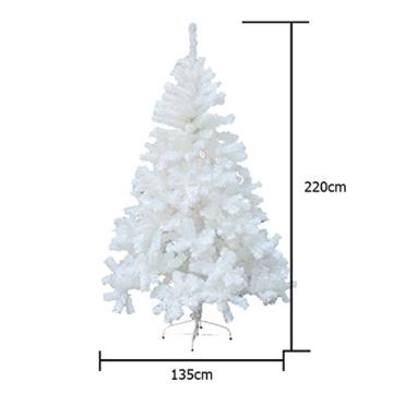 Hengda® 180cm Hoch Künstlicher Weihnachtsbaum Tannenbaum Weiß Christbaum mit Ständer künstliche Tanne (180 cm ca. 650 ) -