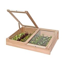Frühbeetkasten aus Lärchen-Holz Mini-Gewächshaus 119x80x30 cm von Gartenpirat® -