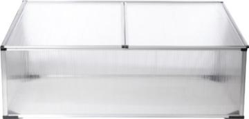 Gartenfreude Gewächshaus Frühbeet Aluminiumrahmen mit Polycarbonatplatten 100 x 60 x 40 cm (LxBxH) -