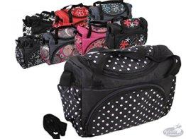 Babys-Dreams Wickeltasche für Kinderwagen Kinderwagentasche ** 8 FARBEN ** + Wickelunterlage (Schwarz kleine weiße Punkte) -