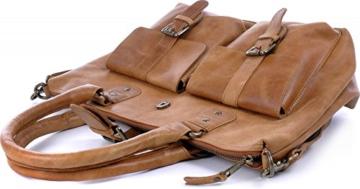 MASQUENADA, Cntmp, Naturleder, Damen Schultertaschen, Shopper, Handtaschen, Umhängetaschen, Leder, Natur, Cognac, 33x28x12cm (B x H x T) -