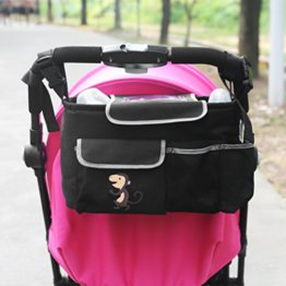NuoYo Baby Kinderwagen Organizer,Buggy Organizer,Abnehmbarer Schultergurt Umhängetasche,Tough Fabric,Wasserdicht,Affe Schwarz -