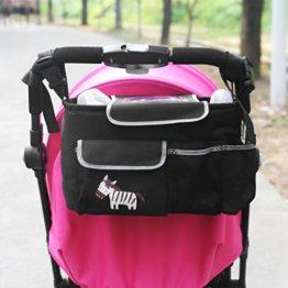 NuoYo Baby Kinderwagen Organizer,Buggy Organizer,Kinderwagen Buggy Warenkorb Flasche Taschen,Super Große Kapazität,4 Taschen,Zebra Schwarz -