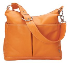 OiOi Zwei Tasche Leder Baby Wickeltasche (Hobo orange) -