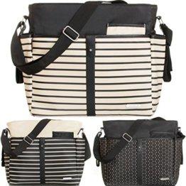 Wickeltasche (+ Wickelauflage) Baby Tasche mit Befestigung für Kinderwagen Buggy (SCHWARZ) -